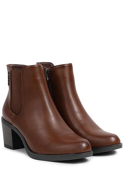 Tom Tailor Damen Schuh Kunstleder Stiefelette 6,5cm Blockabsatz Zipper cognac