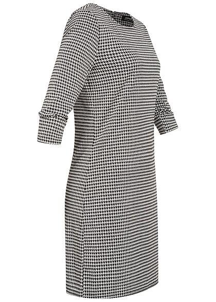 ONLY Damen NOOS 3/4 Arm Mini Kleid Hahnentritt Muster Zipper cloud dancer weiss