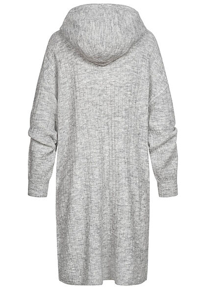 ONLY Damen Hoodie Sweat Pullover Kleid Strukturstoff hell grau melange