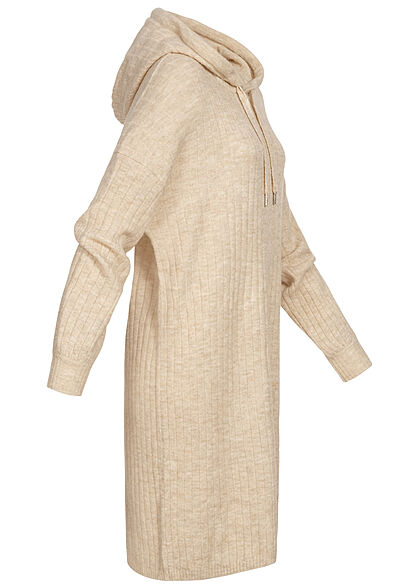 ONLY Damen Hoodie Sweat Pullover Kleid Strukturstoff pumice stone beige