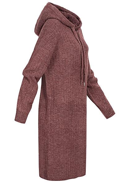 ONLY Damen Hoodie Sweat Pullover Kleid Strukturstoff rose braun