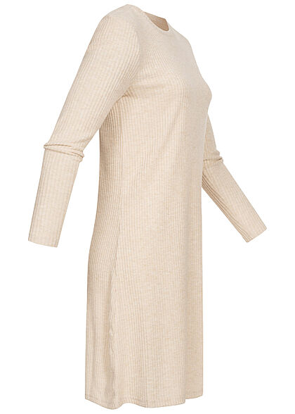 ONLY Damen Ribbed Sweat Pullover Kleid cement beige