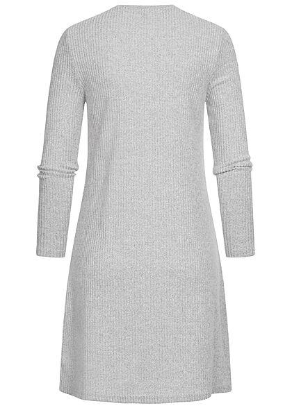 ONLY Damen Ribbed Sweat Pullover Kleid hell grau melange