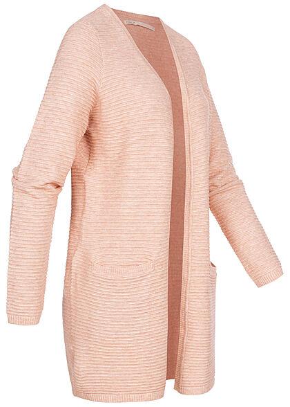 ONLY Damen V-Neck Struktur Cardigan offener Schnitt 2-Pockets smoke rosa