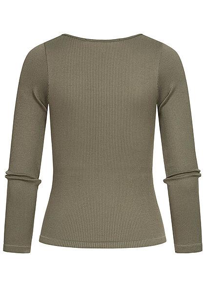 ONLY Damen Ribbed Longsleeve Pullover kalamata oliv grün