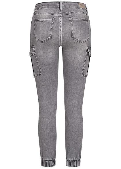 ONLY Damen Cargo Ankle Jeans Hose 7-Pockets hell grau denim