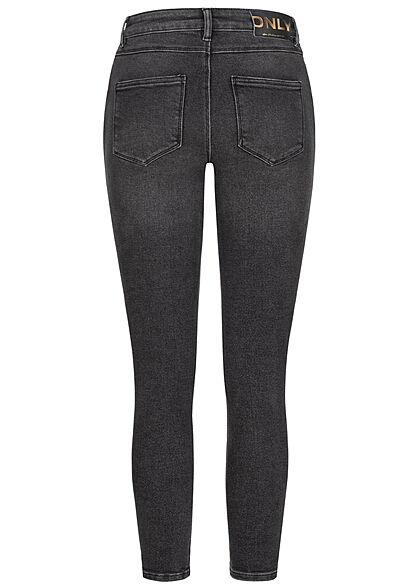ONLY Damen High-Waist Skinny Jeans Hose 5-Pockets schwarz denim