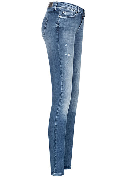 ONLY Damen Skinny Jeans Hose Destroy Look 5-Pockets medium blau denim