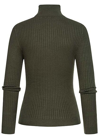 ONLY Damen NOOS Ribbed Rollkragen Pullover Longsleeve rosin dunkel grün