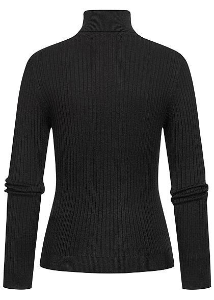 ONLY Damen NOOS Ribbed Rollkragen Pullover Longsleeve schwarz