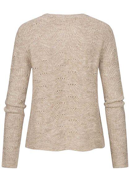 ONLY Damen NOOS Strickpullover Sweater Strukturstoff taupe gray beige