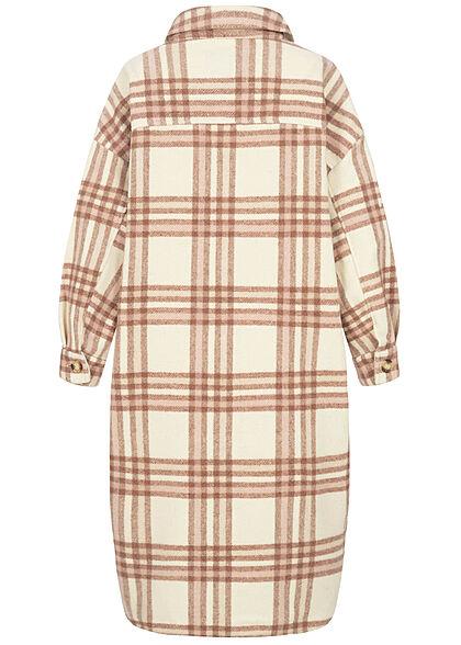 ONLY Damen Oversized Longform Shacket Jacke Karo Muster winter weiss beige braun