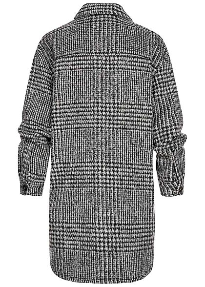 ONLY Damen Shacket Hemd Jacke Knopfleiste Hahnentritt Muster glacier dunkel grau
