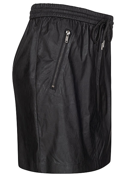 ONLY Damen Mini Kunstleder Rock Tunnelzug 2-Pockets schwarz