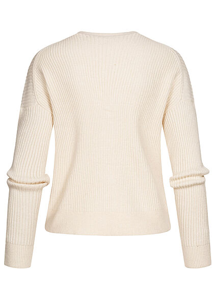 ONLY Damen V-Neck Ribbed Cardigan Knopfleiste whitecap gray beige