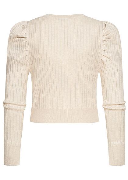 ONLY Damen V-Neck Struktur Cardigan Puffärmel Knopfleiste pumice stone beige