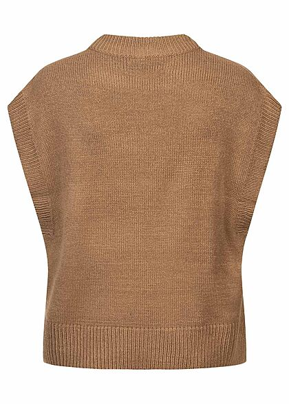ONLY Damen Ribbed Strickweste Pullunder toasted coconut braun