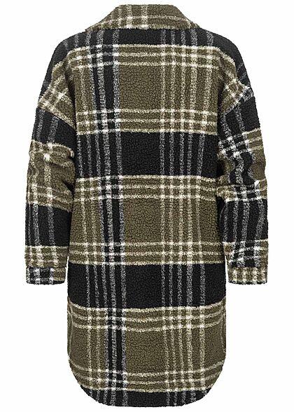 ONLY Damen Longform Hemd Jacke Teddy Optik Karo Muster kalamata oliv grün schwarz