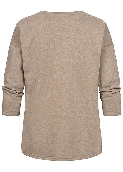 ONLY Damen 7/8-Arm Oversized Sweater Pullover Vokuhila walnuss braun