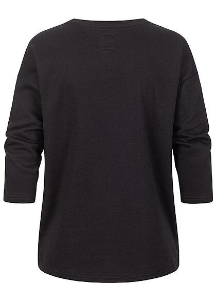 ONLY Damen 7/8-Arm Oversized Sweater Pullover Vokuhila schwarz