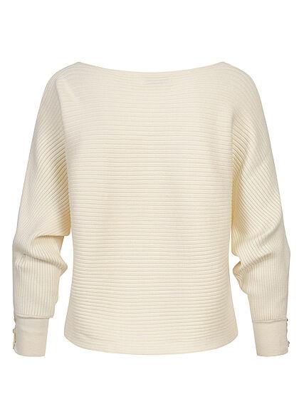 ONLY Damen Ribbed U-Boot Sweater Pullover Knöpfe am Ärmel cloud dancer weiss