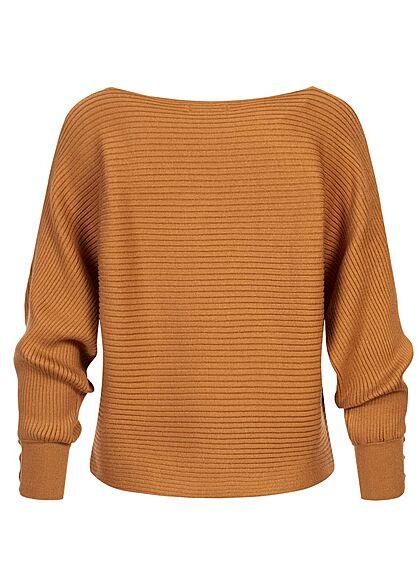 ONLY Damen Ribbed U-Boot Sweater Pullover Knöpfe am Ärmel glazed ginger braun