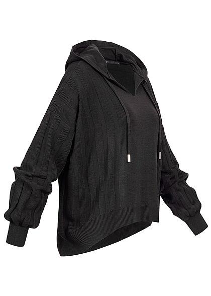 ONLY Damen V-Neck Hoodie Strukturstoff mit Kapuze schwarz