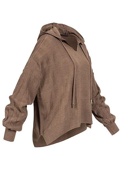ONLY Damen V-Neck Hoodie Strukturstoff mit Kapuze chestnut braun