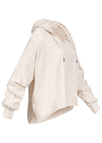 ONLY Damen V-Neck Hoodie Strukturstoff mit Kapuze pumice stone beige