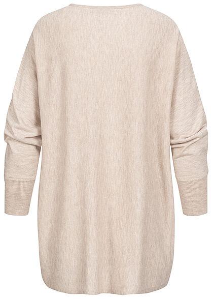 ONLY Damen Oversized Longform Sweater Pullover pumice stone beige