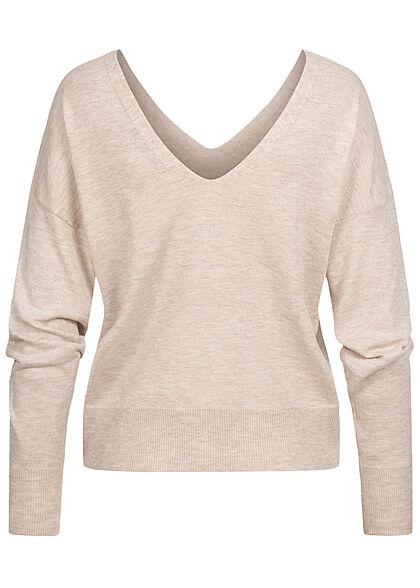 ONLY Damen V-Neck Pullover Sweater pumice stone beige