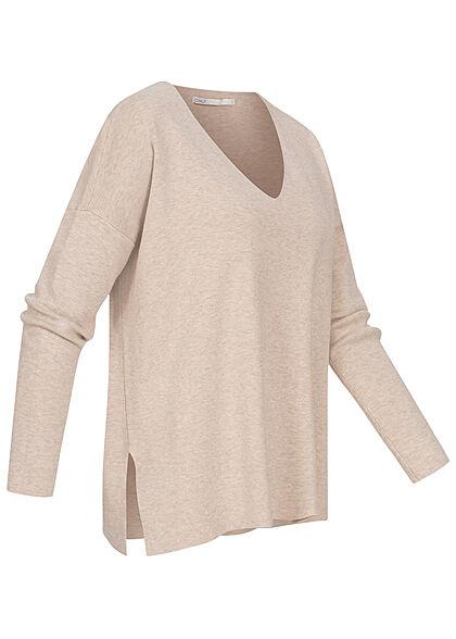 ONLY Damen V-Neck Longform Sweater Pullover pumice stone beige