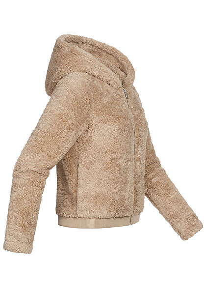 ONLY Damen Sherpa Teddyfell Zip Hoodie Jacke Kapuze 2-Pockets humus beige