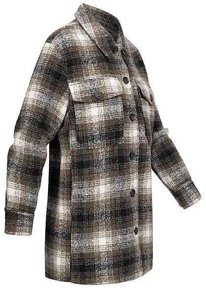 ONLY Damen NOOS Shacket Jacke karriert mit Knopfleiste 4-Pockets beech oliv weiss