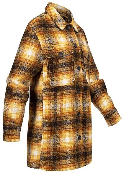 ONLY Damen NOOS Shacket Jacke karriert mit Knopfleiste 4-Pockets solar power gelb