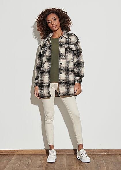 ONLY Damen NOOS Shacket Jacke karriert mit Knopfleiste 4-Pockets pumice stone schwarz