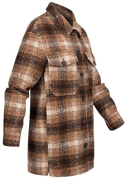 ONLY Damen NOOS Shacket Jacke karriert mit Knopfleiste 4-Pockets pumice stone braun