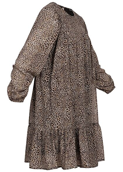 ONLY Damen Mini Langarm Kleid Leo Print taupe grau