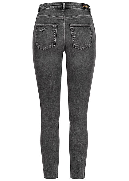 ONLY Damen High-Waist Skinny Ankle Jeans Hose Destroy Look 5-Pockets schwarz denim
