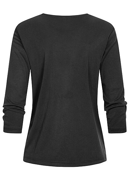 ONLY Damen 3/4-Arm Shirt Longsleeve Knotendetail schwarz