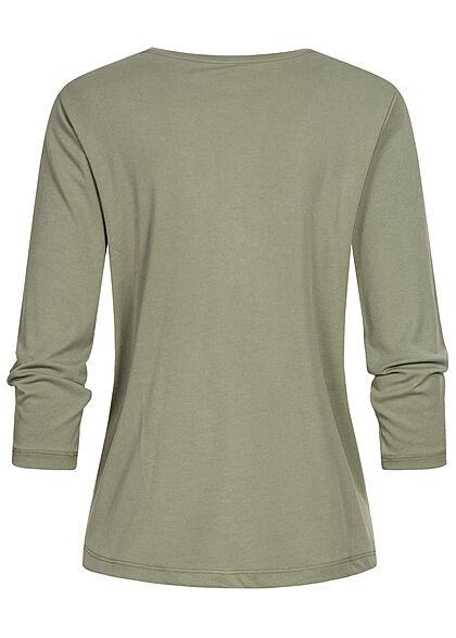 ONLY Damen 3/4-Arm Shirt Longsleeve Knotendetail sea spray grün