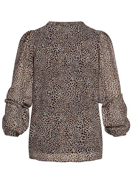 ONLY Damen V-Neck Langarm Blusen Shirt Leo Print taupe grau