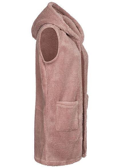ONLY Damen Teddyfell Weste Kapuze 2-Pockets adobe rosa