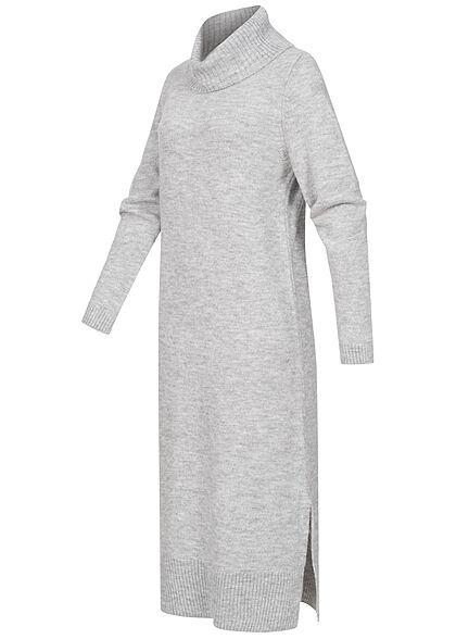 ONLY Damen Longform Ribbed Rollkragen Strickkleid hell grau melange