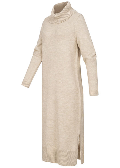 ONLY Damen Longform Ribbed Rollkragen Strickkleid pumice stone beige