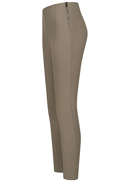 ONLY Damen Leggings Zipper seitlich walnut braun