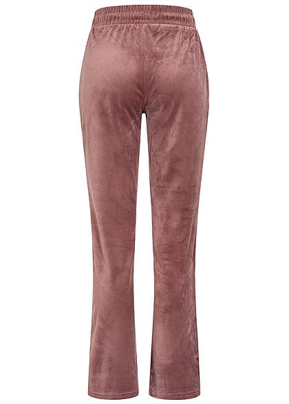 ONLY Damen Sweat Pants Stoffhose Velours Optik Tunnelzug rose braun