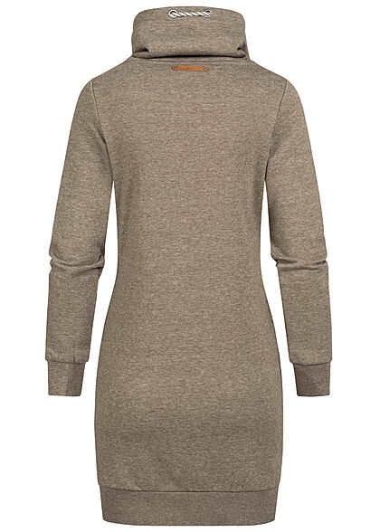 ONLY Damen High-Neck Sweat Pullover Kleid 2-Pockets tarmac oliv grün