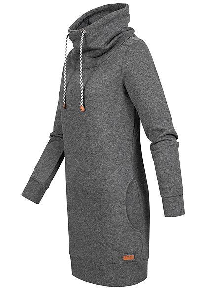 ONLY Damen High-Neck Sweat Pullover Kleid 2-Pockets dunkel grau melange