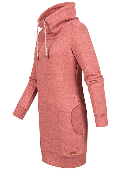 ONLY Damen High-Neck Sweat Pullover Kleid 2-Pockets chili oil rot
